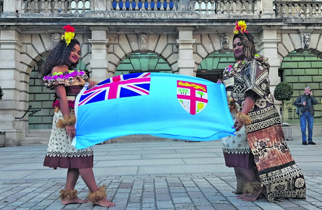 Ana Lavekau (right) and Takeinivula performed during the Duchess of Sussex Meghan Markle visit at the Royal Academy of Arts to open the Oceania exhibition
