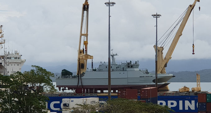 The new Fiji Navy ship, RFNS Kacau, is ready to be offloaded from a cargo vessel at the Kings Wharf in Suva on October 7, 2018. Photo: Fonua Talei