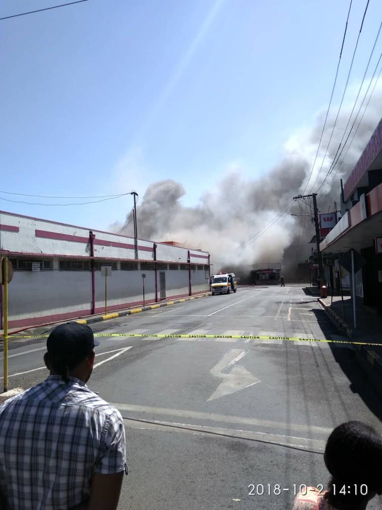 Closed off... Sigatoka's Main Street.