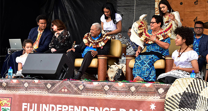 Prime Minister Voreqe Bainimarama and, wife Mary, being garlanded during the Fiji Day celebrations in Sydney, Australia, on October 20, 2018. Photos:  DEPTFO News