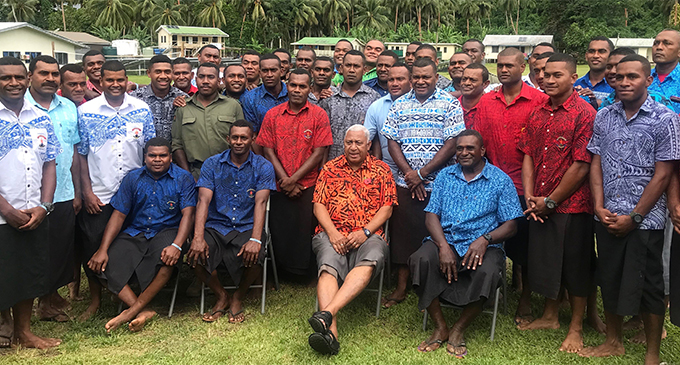 Army engineers with the Prime Miister Voreqe Bainimarama in Rotuma on October 29, 2018. The engineers are building the new Rotuma Hospital.  Photo: Charles Chambers