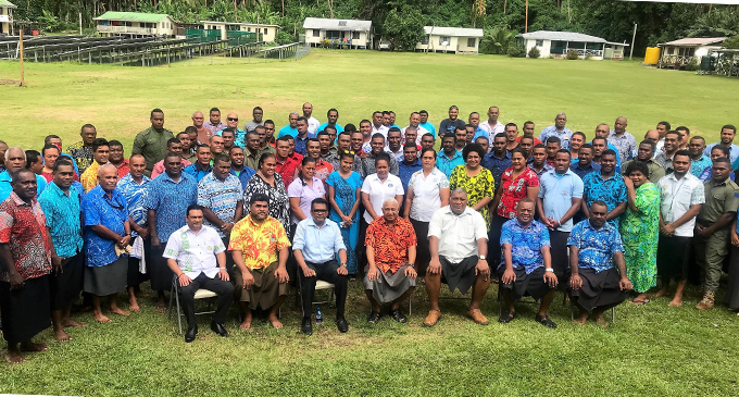 Civil servants in Rotuma and Government and Fiji Airports officials at the Government station in Rotuma yesterday. PHOTO BY CHARLES CHAMBERS
