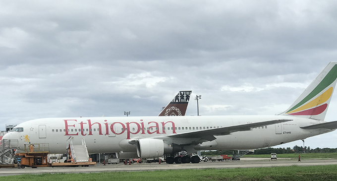 The Ethiopian Airline aircraft that will take the contingent. Photo: Waisea Nasokia