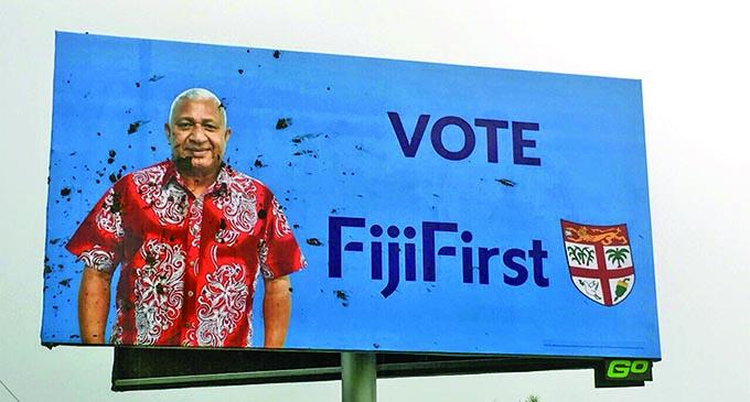 The FijiFirst billboard vandalised twice earlier this week.