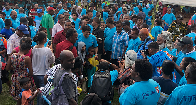 FijiFirst party general secretary Aiyaz Sayed-Khaiyum with candidates meeting supporters during the rally at Koroivolu Park in Nadi on October 20, 2018. Photo: Waisea Nasokia