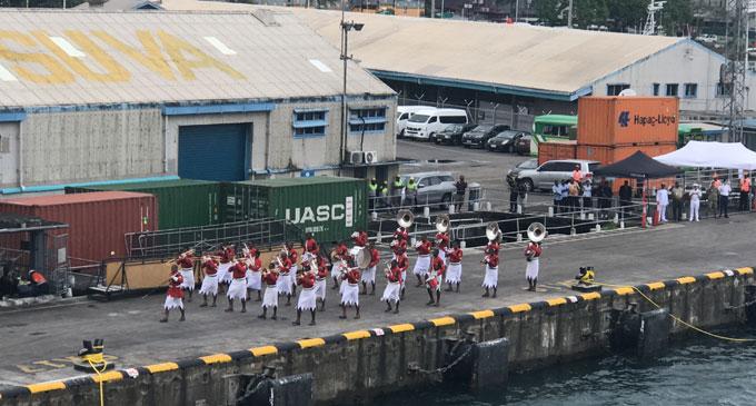 The RFMF brass band at Port Mua-iWalu, Suva.