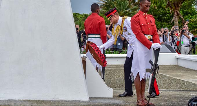 The Duke of Sussex, Prince Harry, lays a wreath at the National War Memorial site at Nasese, Suva, on October 24, 2018. Photo: DEPTFO News