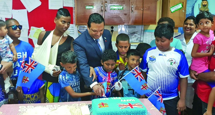 Children at Labasa Hospital get treats from PS Singh