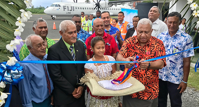 Prime Minister Voreqe Bainimarama surrounded by chiefs of Rotuma as he opens the new runway on October 29, 2018.  Photo: Charles Chambers