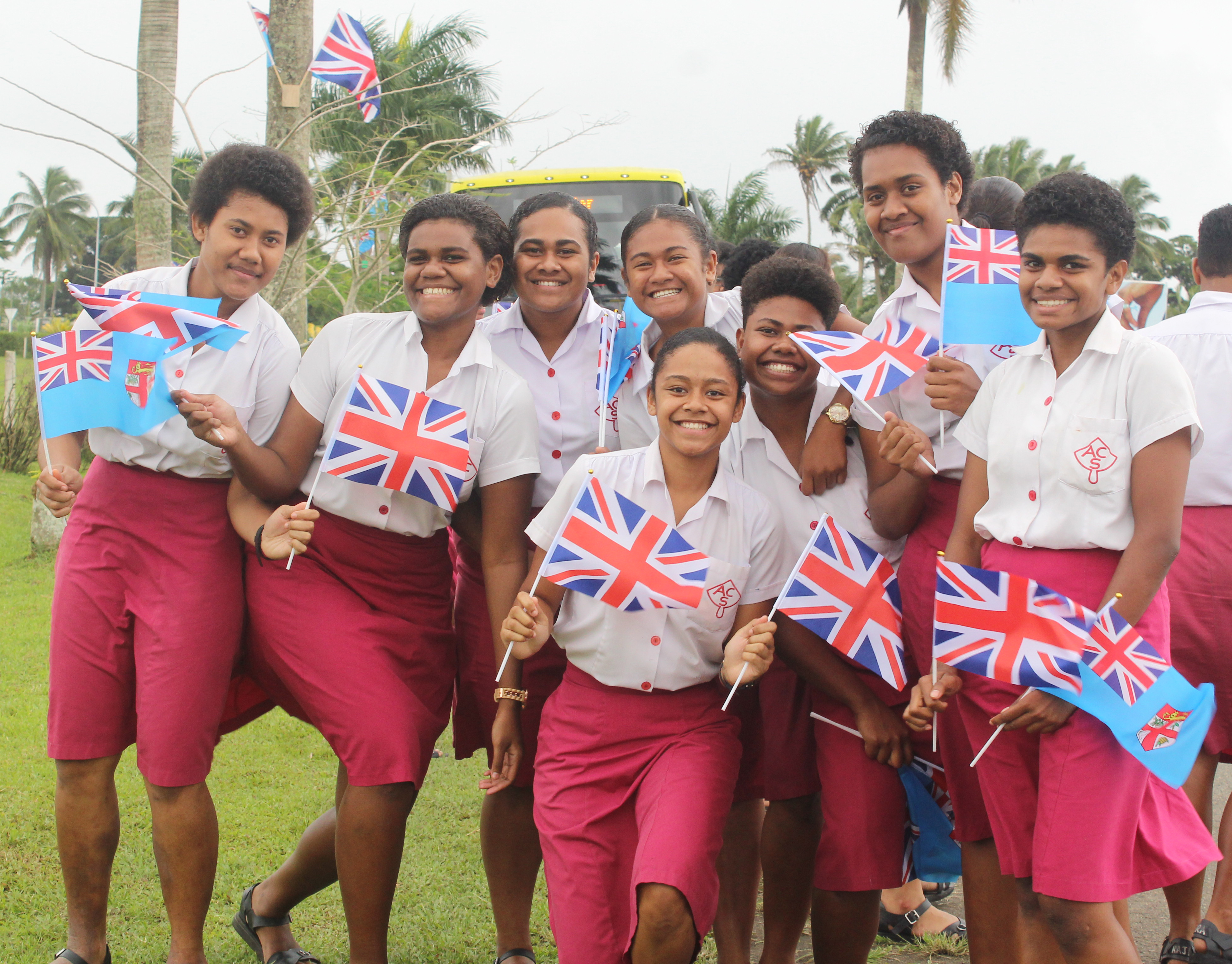 Students of Adi Cakobau School in Nausori anticipating the arrival of the Duke and Duchess of Sussex, Prince Harry and Meghan at the Nausori Airport on October 23,2018. Photo:Simione Haravanua.