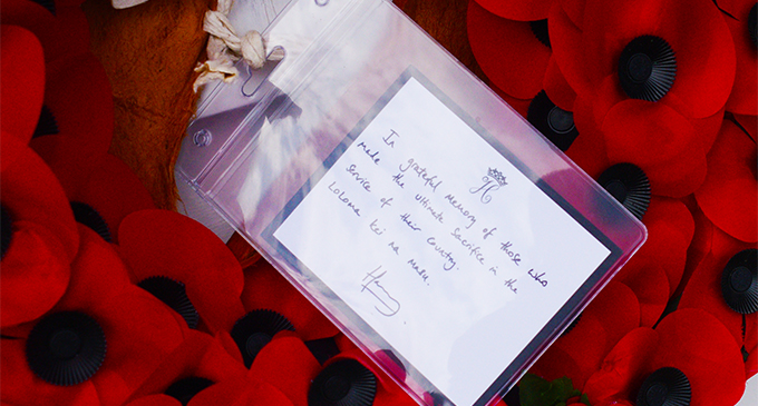 The message left by Prince Harry at the National War Memorial site at Nasese, SUVA . Photo: Ronald Kumar.