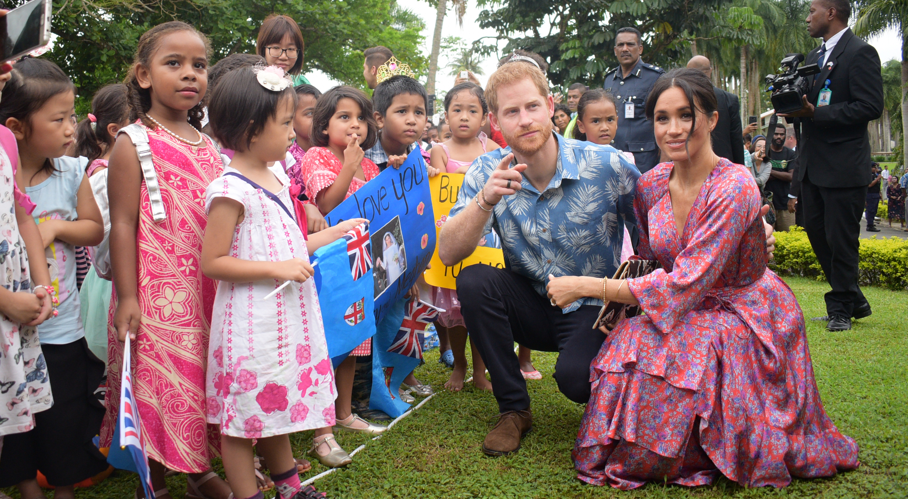 The Duke and Duchess of Sussex, Prince Harry and Meghan Markle, with students of Bright Little Ones Children Services at the  University of the South Pacific in Suva on October 24, 2018.  Photo: Ronald Kumar