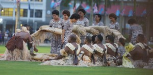 Part of the traditional ceremonies preformed for the Duke and Duchess of Sussex at Suva 's Albert Park on 23rd October, 2018. PHOTO: Ronald Kumar