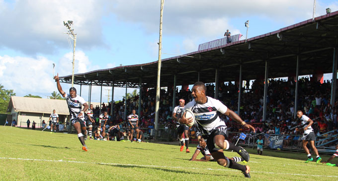The late Josua Lalauvaki was a key player in the Rewa Rugby side. This was Josua scoring a try during the Skipper Cup competition against Naitasiri at the Ratu Cakobau Park in May. Photo: Simione Haranavanua