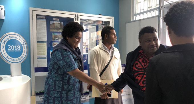 HOPE party leader Tupou Draunidalo at the Fijian Elections Office. Photo: Selita Bolanavanua