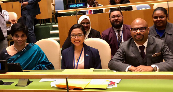 Fiji's Permanent Representative to the United Nations and other organisations in Geneva and Ambassador to Switzerland Nazhat Shameem-Khan (front left) and Fiji Human Rights and Anti-Discrimination Commission director Ashwin Raj (front right) with other members of the Fijian delegation at the UN.