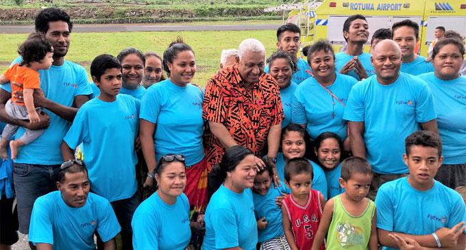 Prime Minister Voreqe Bainimara with residents on Rotuma. Photo: Charles Chambers.