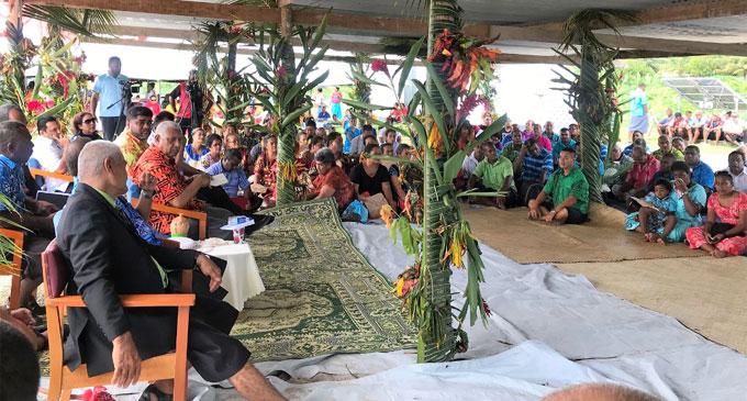 Prime Minister Voreqe Bainimarama during a talanoa session at Rotuma. Photo: Charles Chambers.