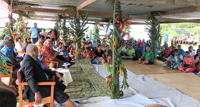 Yesterday's 'talanoa' session with Prime Minister in Rotuma yesterday. PHOTO BY CHARLES CHAMBERS