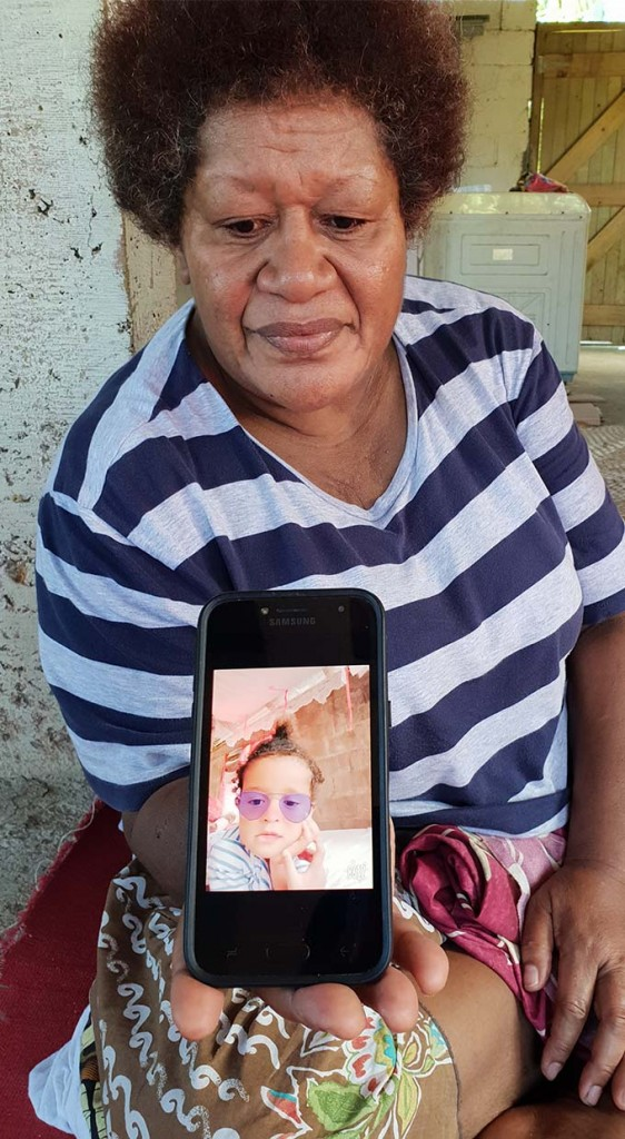 Kelera Baleivatu shows a phone picture of her granddaughter Atelaite Maca Rabale.  Photo: Fonua Talei