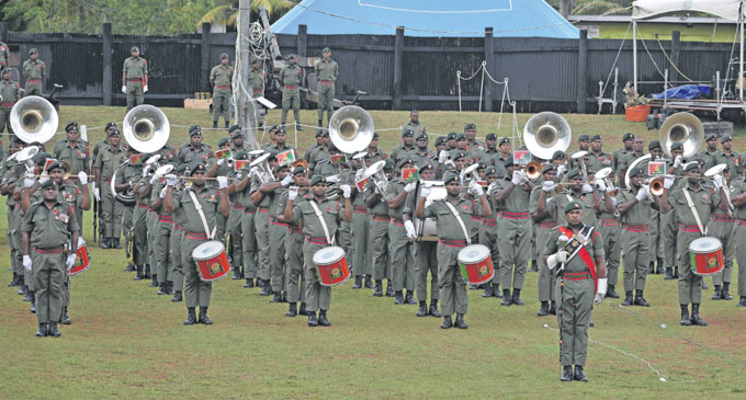 Republic of Fiji Military Forces (RFMF)officers rehearse for Fiji Day celebrations at Subrail Park in Labasa on October 8, 2018. Photo: Shratika Naidu