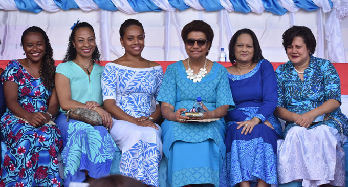 WOMEN IN BLUE... From left: FijiFirst provisional candidates Susana Tuilau Hirst, Ateca Laveti Ledua, Anne Dunn, Leader of the Opposition Ro Teimumu Kepa, Minister for Health and Medical Services Rosy Akbar and Ela Sayed-Khaiyum on October 10, 2018, during the Fiji Day celebrations at Labasa's Subrail Park.
