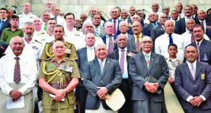 Front from left; Former President Ratu Epeli Nailatikau, President Major-General (Ret'd) Jioji Konrote, Prime Minister Voreqe Bainimarama and RFMF Commander Rear Admiral Viliame Naupoto with veterans and members of the disciplined forces on June 10, 2018, after a church service to mark the beginning of the week-long celebrations of 40 years of our participation in peacekeeping operations with the United Nations. Fiji has been participating with the UNIFIL since June 1978. Photo:  DEPTFO News