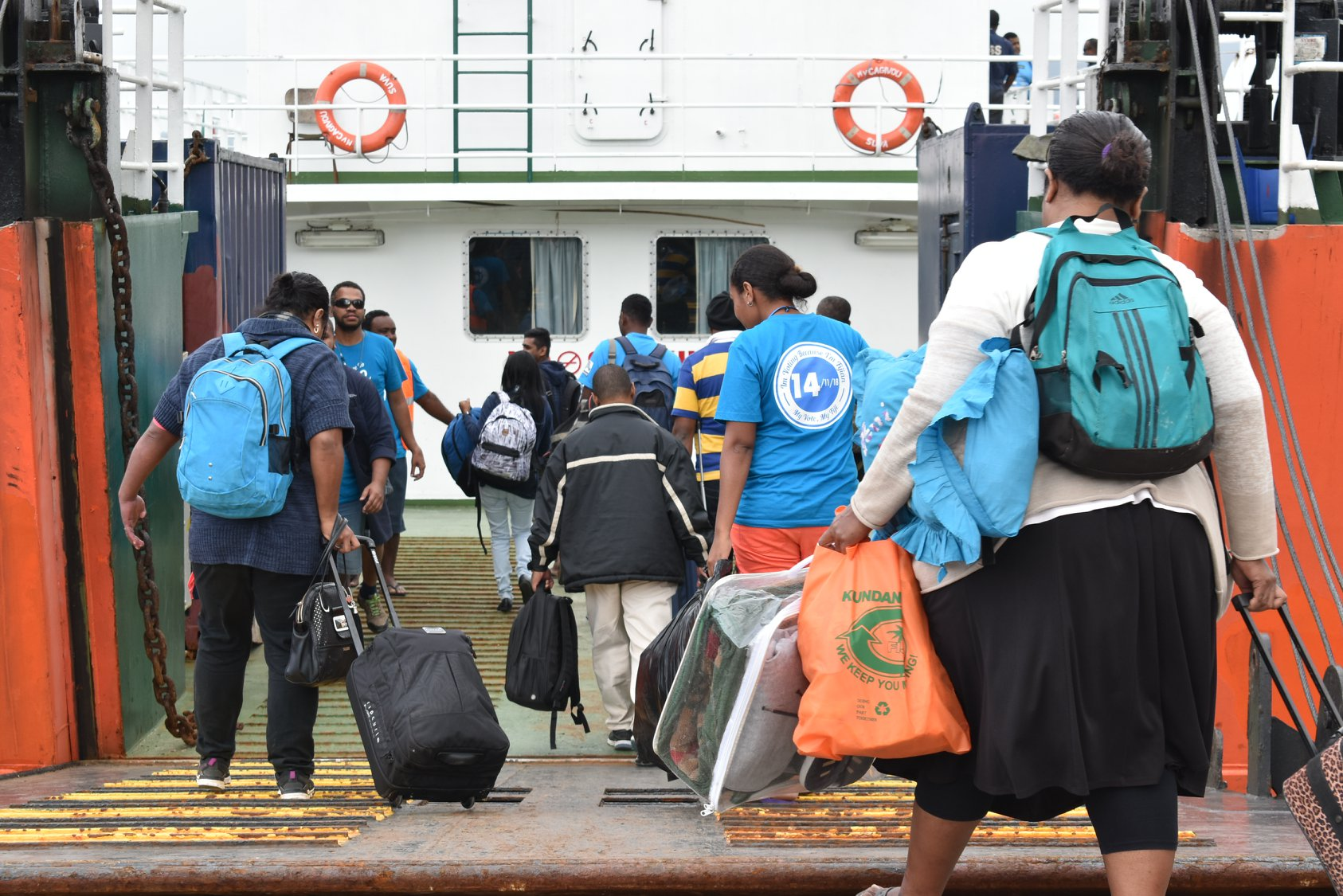 Fijian Elections Office officials boarding MLC Vunilagi for the Lau Group on November 6, 2018.