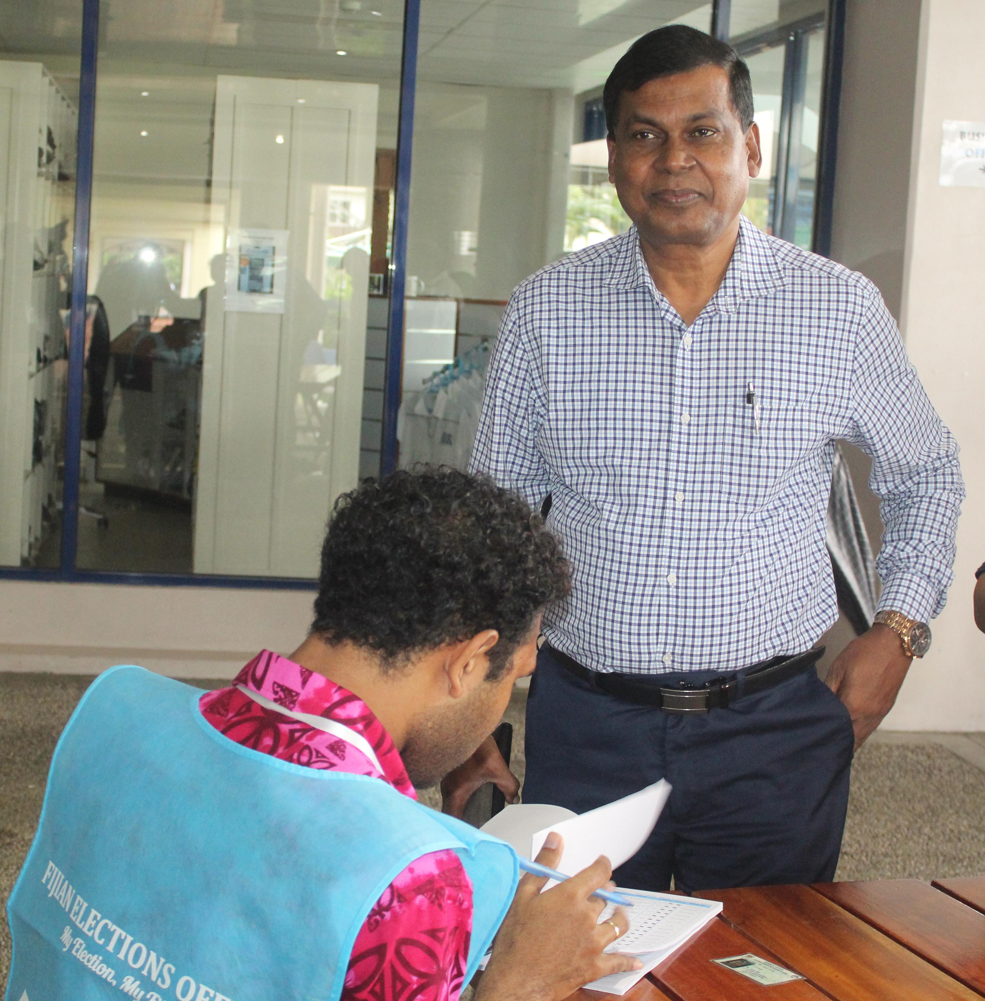 National Federation Party leader  Biman Prasad casts his ballot on  November 14, 2018 at the International Secondary School, Laucala Beach.  Simione Haravanua Photo journalist