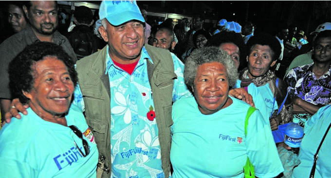 FijiFirst party leader and Prime Minister Voreqe Bainimarama with supporters in Savusavu on November 2, 2018. Photo: Jyoti Pratibha