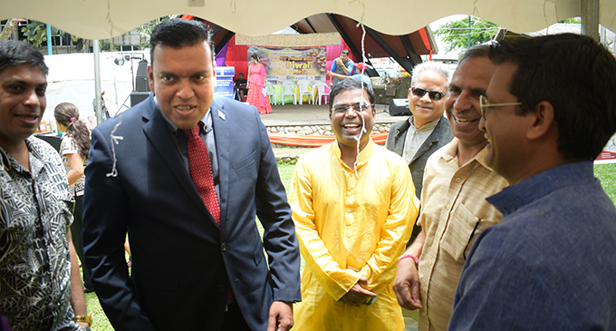 Newly-appointed Minister for Lands and Mineral Resources Ashneel Sudhakar and Indian High Commissioner to Fiji Vishvas Sapkal with guests during the Fiji Masti Bhara Diwali Mela in Suva on November 24, 2018. Photo: Ronald Kumar