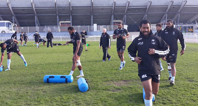 Fiji Airways Flying Fijians (left-right) Viliame Mata, Henry Seniloli, Ben Voalvola, captain Dominiko Waqaniburotu during training at the Reg9 camp in Toulouse, France on November 1, 2018.  Photo: FRU Media