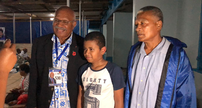 Sitiveni Rabuka with supporters at the Kinoya Methodist Church Hall last night, November 1, 2018.