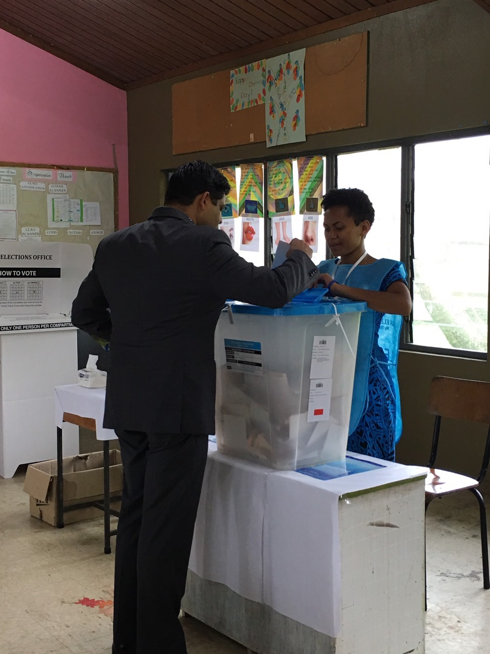 FijiFirst general-secretary Aiyaz Sayed-Khaiyum on November 14, 2018 casts his ballot at the Suva Society for the Intellectually Disabled at Salato Road in Namadi Heights, Suva. He was accompanied by his wife, Ela.