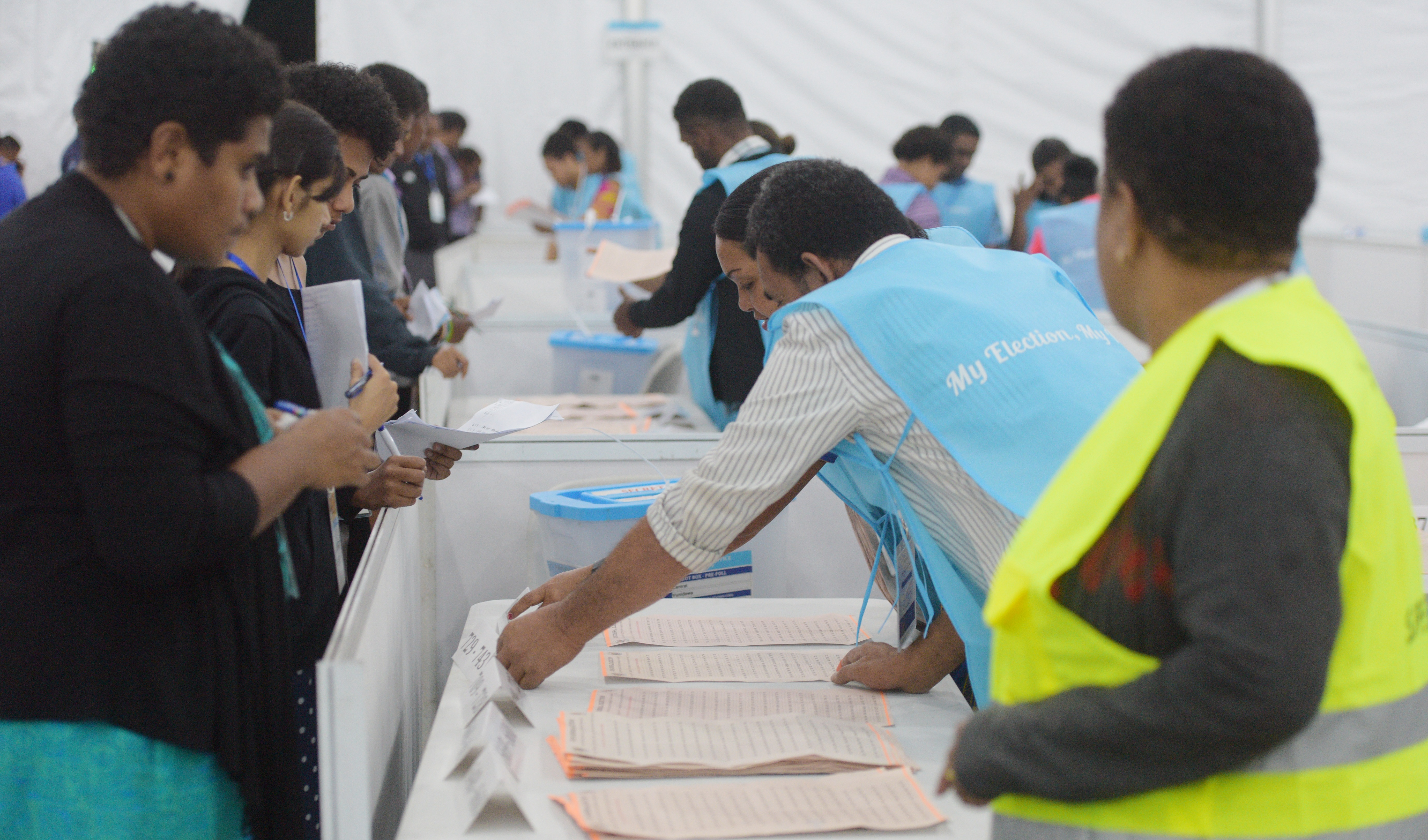 Fijian Elections Office officials and political party poll agents at the National Results Centre at the FMF Gymnasium, Laucala Bay, Suva, on November 15, 2018.  Photo: Ronald Kumar