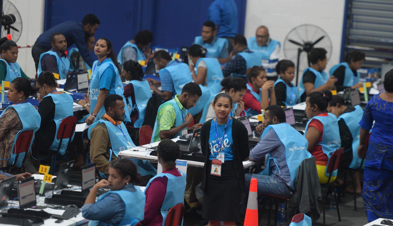 Fijian Elections Office officials at the National Results Centre at the FMF Gymnasium, Laucala Bay, Suva, on November 15, 2018. Photo: Ronald Kumar