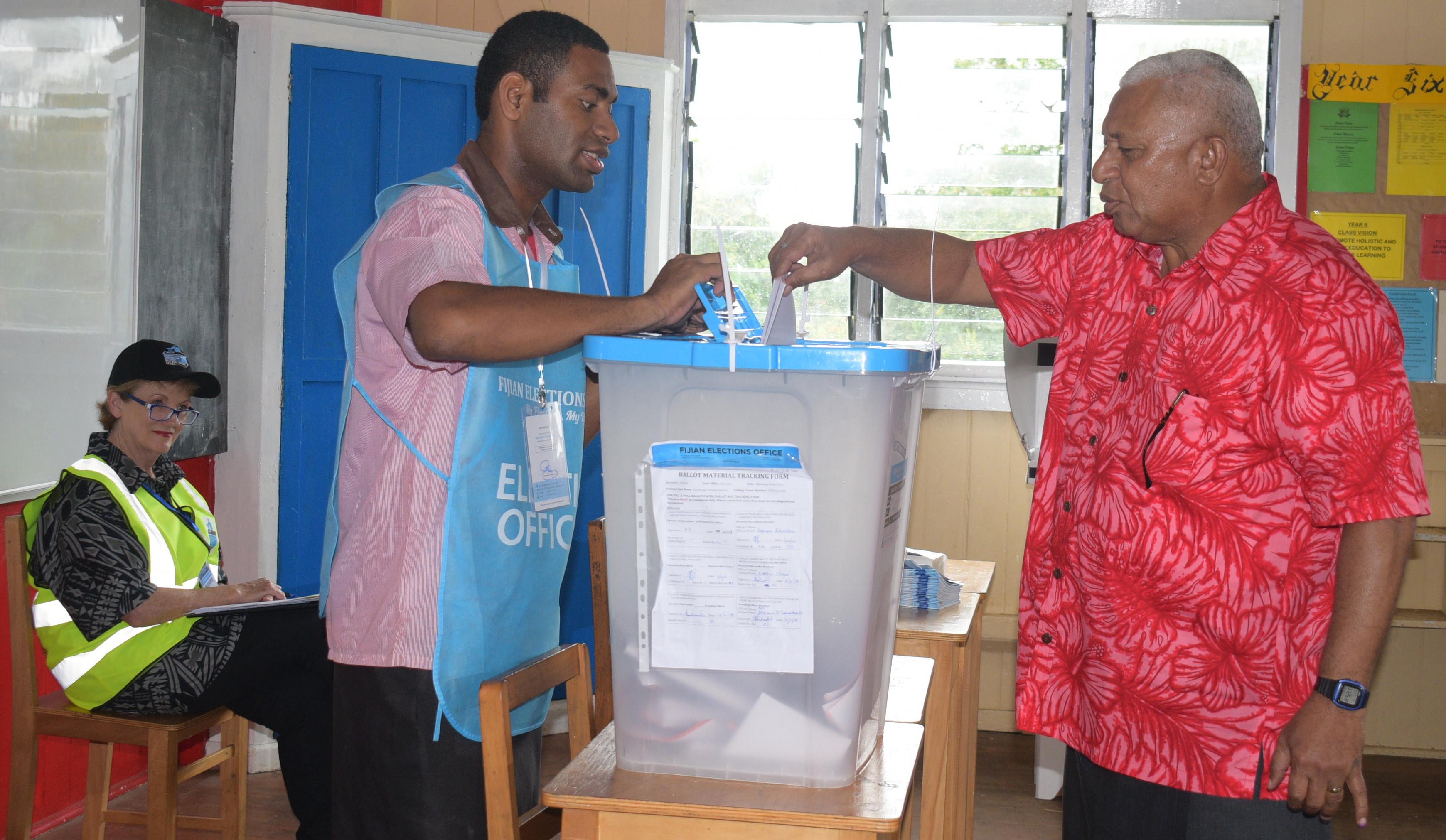 FijiFirst Party leader Voreqe  Bainimarama casts his ballot on  November 14, 2018,  at Vatuwaqa Primary School.  He was accompanied by his wife, Mary.  Ronald Kumar Chief photo journalist