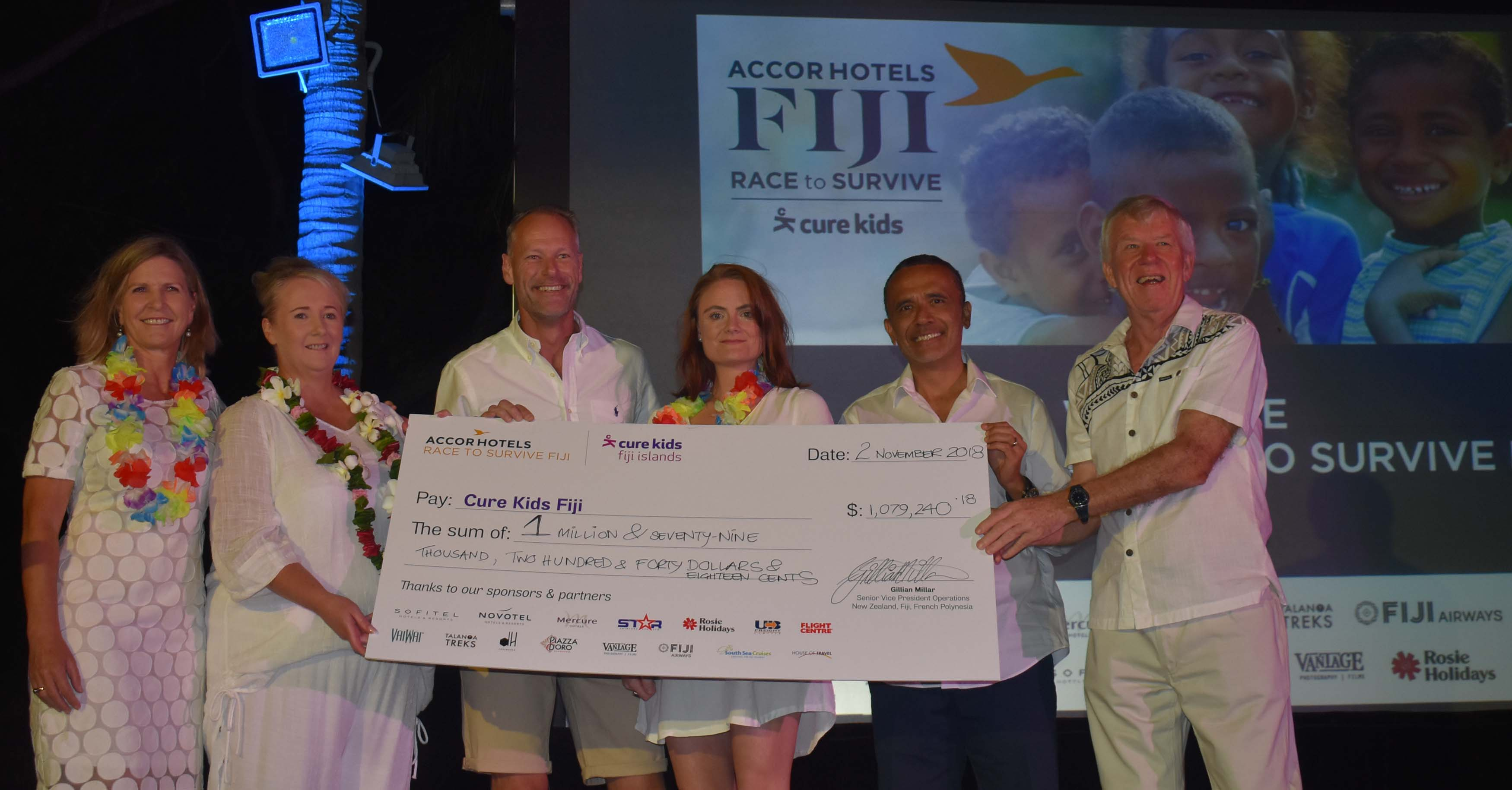 Accor International Sales Manager Jane Reece, Senior Vice president Operations Jillian Millar, Cure Kids board member Murray  Davison, partnership manager Jeniffer Miller, board member Tony Whitton and Mitch Craig during the Cure Kids Fiji Race to Survive 2018 at the Sofitel Fiji Resort on November 2, 2018. Photo: Waisea Nasokia