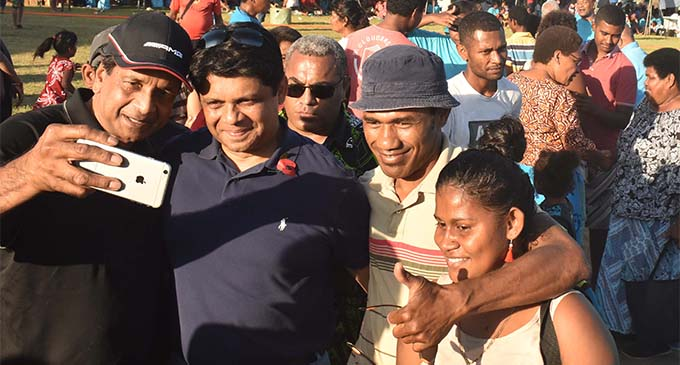 FijiFirst Party general secretary Aiyaz Sayed-Khaiyum takes a selfie with party supporters during the family fun day at  Lautoka's Churchill Park on November 10, 2018.  Photo: Waisea Nasokia