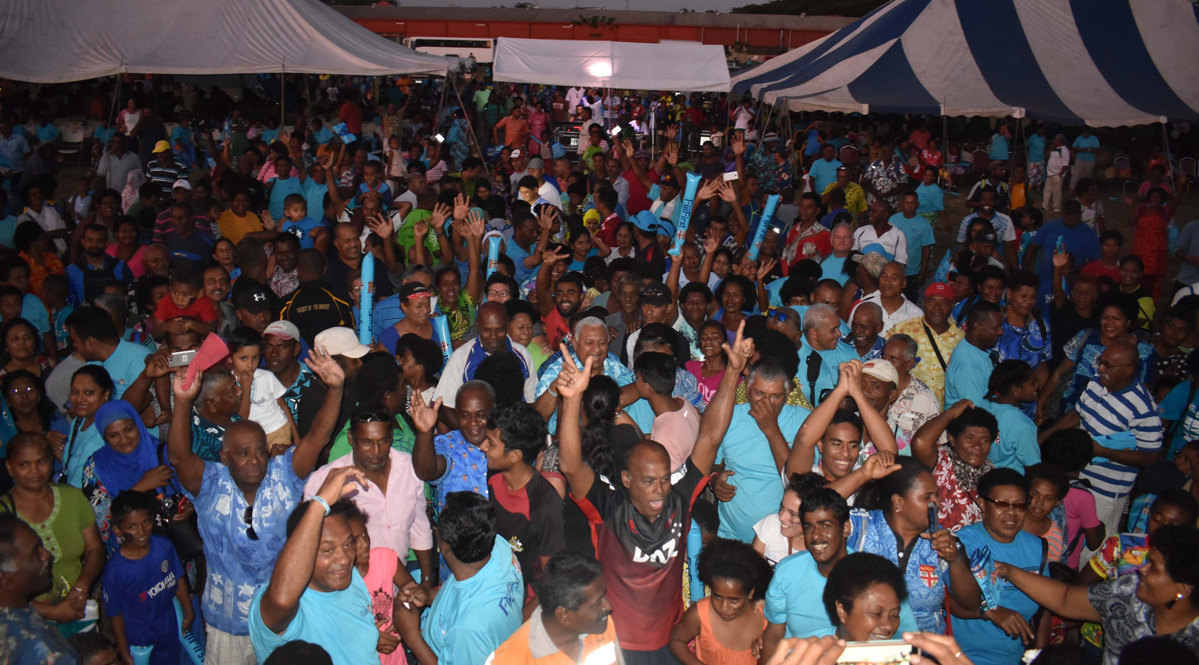 FijiFirst party leader Voreqe Bainimarama with candidates and supporters at the rally in Ba yesterday. Photo: WAISEA NASOKIA