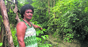 Tamari Cabeikanacea points at the place in the creek where she found the corpse in Vesida Hart in Nasinu on December 26, 2018. Photo: Sheenam Chandra.