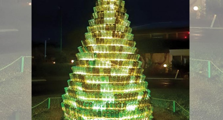 Recycled Wine Bottles For Christmas Tree