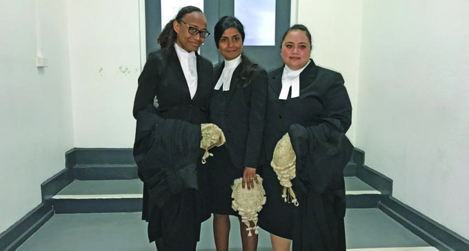The Office of the Director of Public Prosecution lawyers led the prosecution (from left), Lavenia Bogitini, Assistant DPP Dato Shaymala Alagendra, and Juleen Fatiaki outside the High Court in Suva on December 14, 2018. Photo: Ashna Kumar