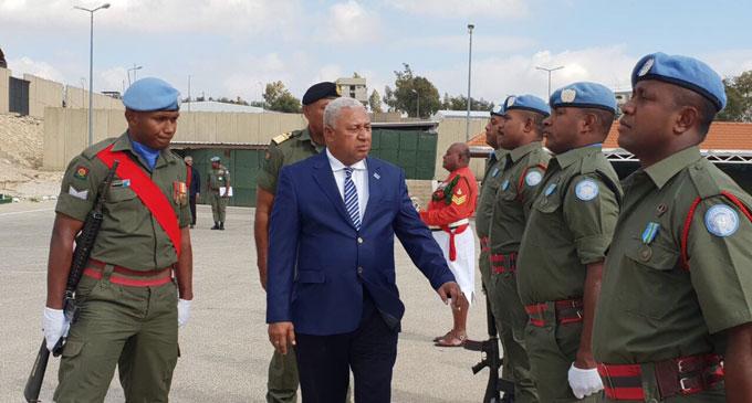 Prime Minister Voreqe Bainimarama with Fijian troops in Lebanon.
