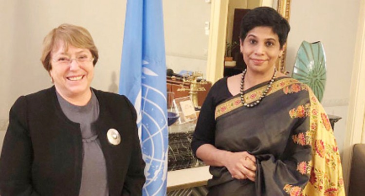 DIPLOMATIC SUN: Ambassador Khan talks with the High Commissioner for Human Rights