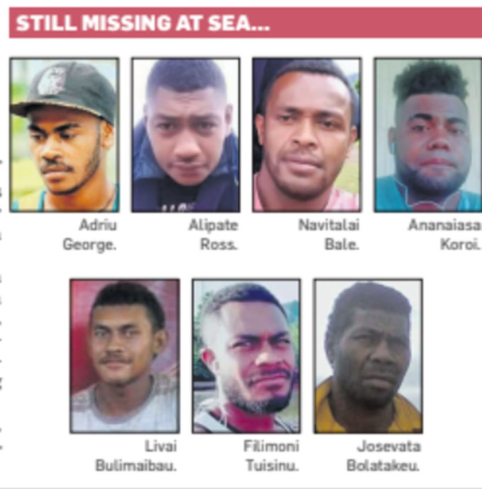 The 7 men who have been missing since Wednesday.