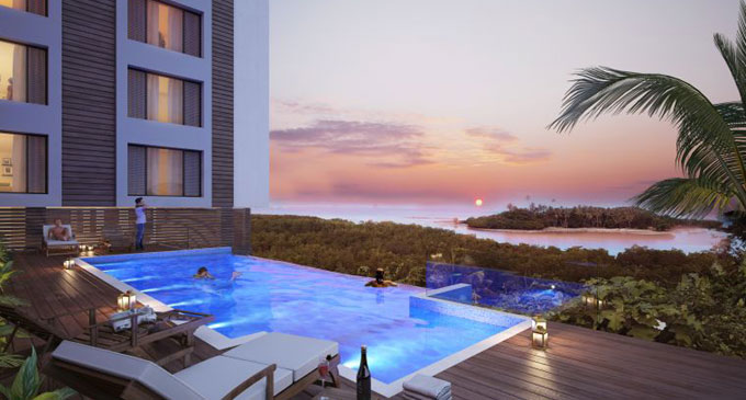 An artist's impression of the view from the deck and pool of the proposed Qeleya Point Apartments.