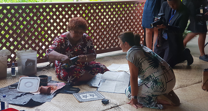 From left: Selai Buasala with Jenny Morrison at the Fiji Museum in Suva on January 17, 2019.  Photo: Fonua Talei