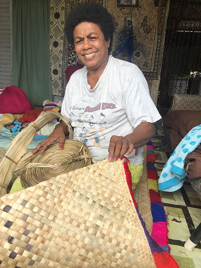 Jotivini Disova with her newly finished mat in Wasavulu, Labasa. Photo: Yogesh Chandra