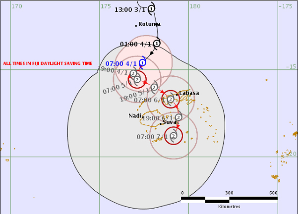 Tropical Cyclone Mona (CAT1), Forecast Track Map at 8.42am today on 04 January 2019.